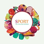 Color sport background. Football, basketball, hockey, box, golf, tennis. Vector illustration