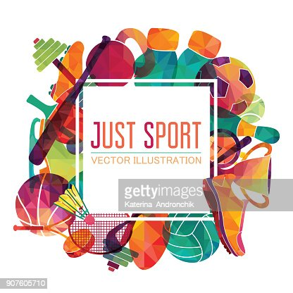 Color sport background. Football, basketball, hockey, box, golf, tennis. Vector illustration : Vector Art