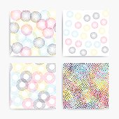 Color universal geometric seamless patterns set in pointillism style. Endless vector texture collection can be used for wrapping wallpaper, pattern fills, web background,surface textures, clothes