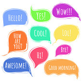 Colorful vector speech or thought bubbles with deckle ragged edges set. Message clouds with Hello, Hi, Wow, Awesome, Bye title. Color communication symbols for message advertisement, web design