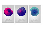 Minimalistic poster design template with spiral shell. Abstract form with curl lines and vibrant color gradient. Color vortex.
