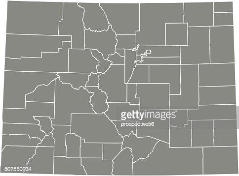 コロラド州郡地図ベクトルアウト...