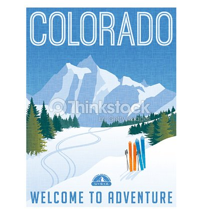 Skiing Thinkstock Poster Stock Illustration Travel Rocky In Colorado Vector Of Mountains