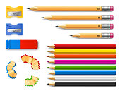 Colored and various length pencils with sharpeners and eraser realistic vector illustration isolated on white background