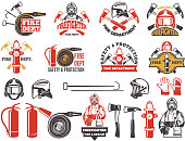 Colored badges for firefighter department. Symbols set of emergency protection isolated on white. Fire department and fireman, firefighter and extinguisher, vector illustration