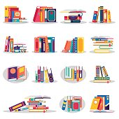 Colored books icons set in flat design style isolated. Open book with bookmarks. Concept for education and study back to school, knowledge, e-book. Vector illustration.