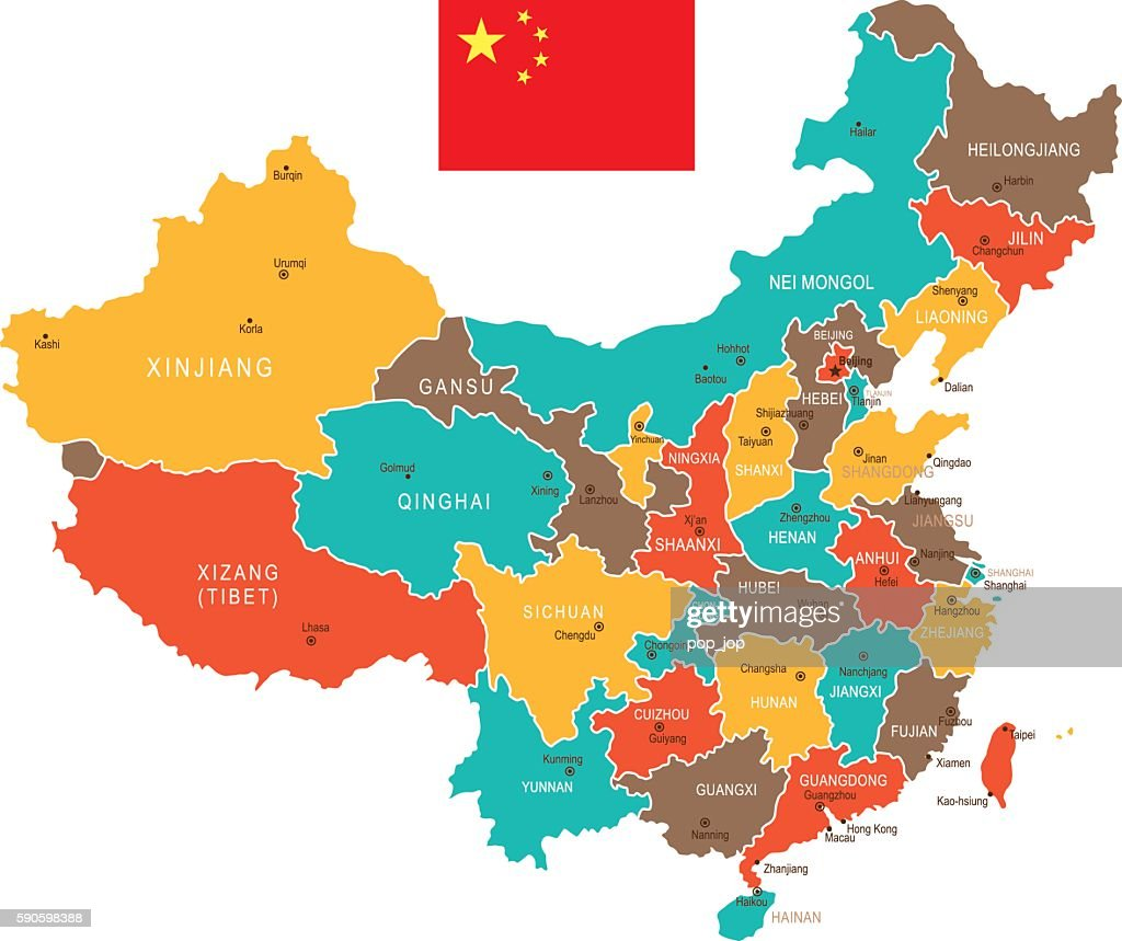 Colored China Map Vector Art Getty Images
