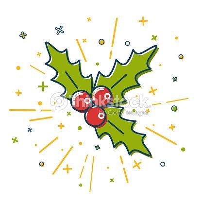 Color Icono De Muérdago De Navidad En Estilo De Línea Fina Arte ...