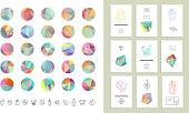 Trendy hipster retro backgrounds and logotypes plus collection of cards.