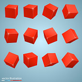 colored cubes 3d art object. Vector illustration