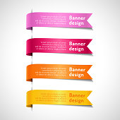 Set of colored decorative arrow ribbons with text. Pink, red, orange, yellow banners, labels and flags vector illustration