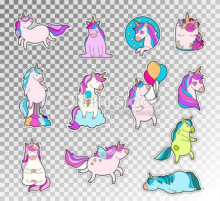 Juego Doodle Color Lindo Unicornio Vector Ilustración De La Etiqueta ...