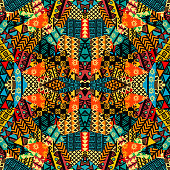 Colored ethnic patchwork mosaic with african motifs
