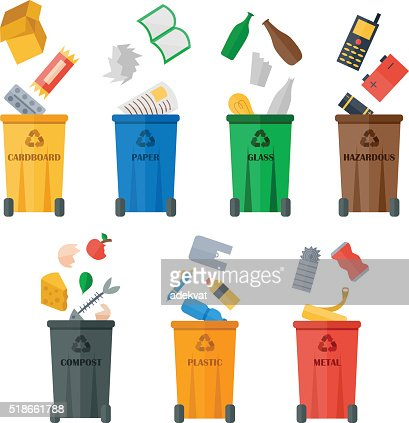 Colored garbage cans with waste types vector : stock vector