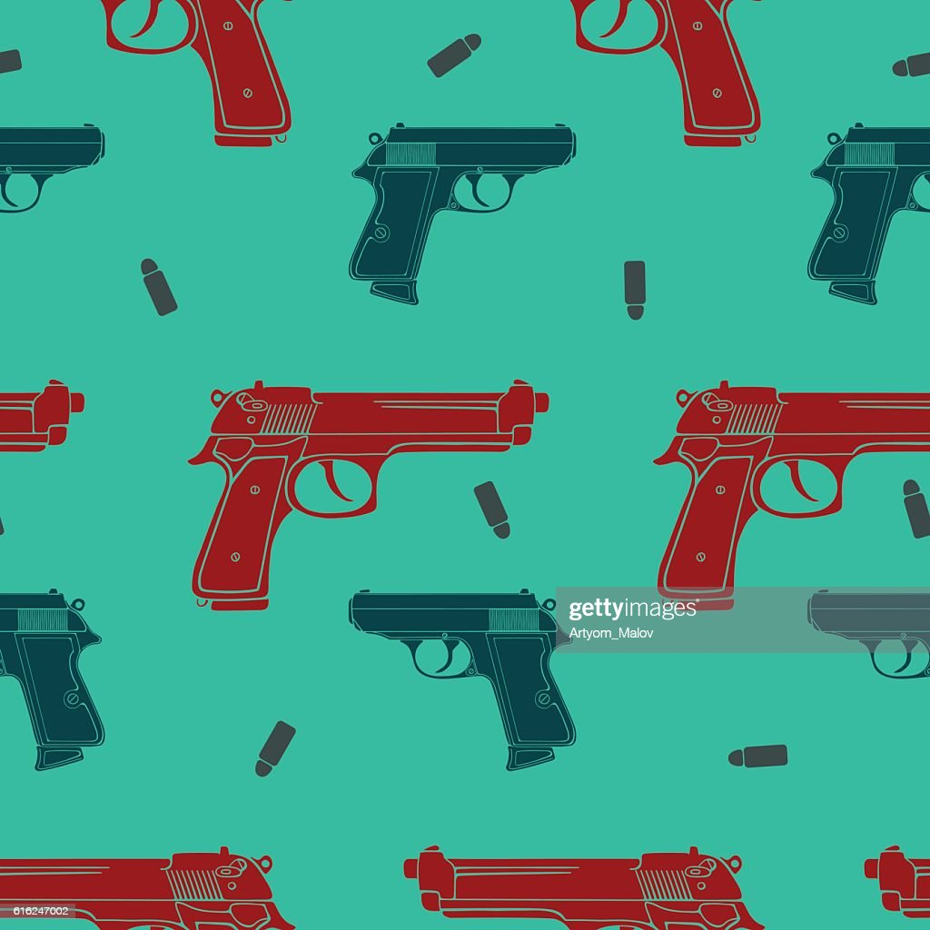 Colored guns seamless pattern : Vector Art