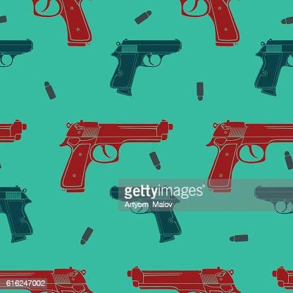 Colored guns seamless pattern : Vector Art
