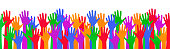 Colored hand crowd - for stock