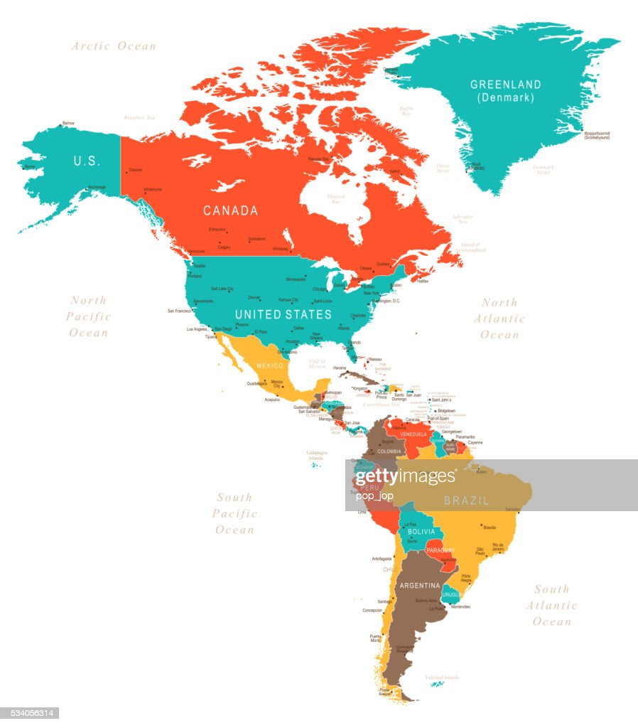 North South America Map America Map Map Of North And South - Map of canada usa and south america