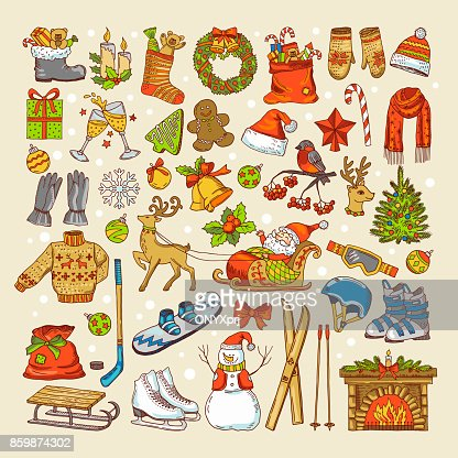 Colored pictures of christmas toys and specific objects of winter season : Vector Art