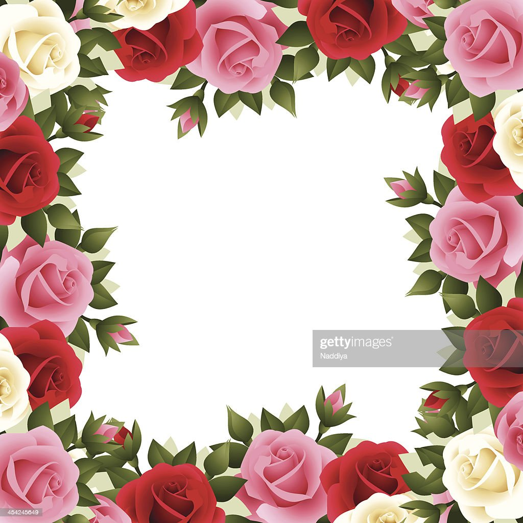 Colored roses frame. Vector illustration. : Vector Art