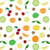 Colored seamless pattern with fruits, vector illustration