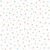 Colored seamless pattern with repeating triangles and round spots. Drawn by hand. Vector illustration.