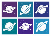 Colored set of white planet icon. Vector illustration