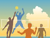 Editable vector colorful silhouettes of four men playing beach volleyball