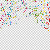 colored streamers and confetti background for party or festival usage with transparency in vector file