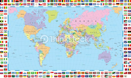 Colored world map and flags vector art thinkstock colored world map and flags vector art gumiabroncs Images