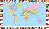 Highly detailed colored vector illustration of world map -