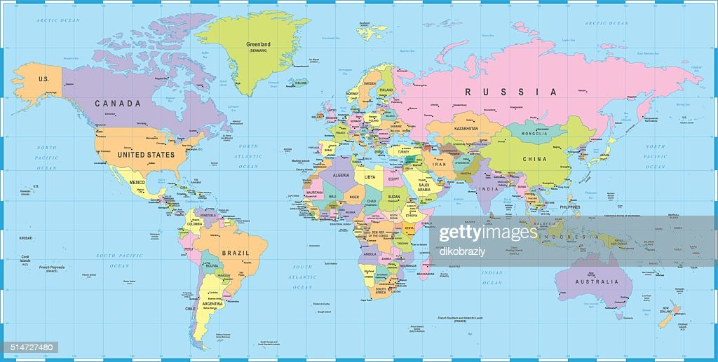 Colored World Map Borders Countries And Cities Illustration Vector