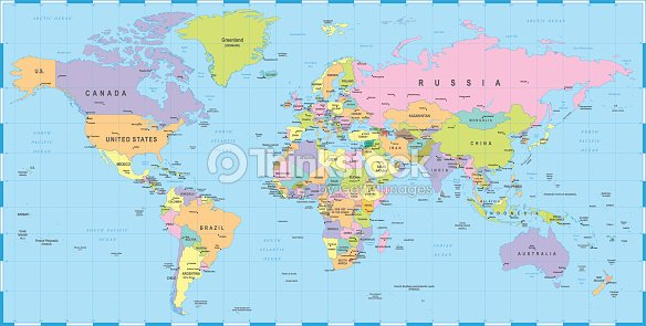 Colored World Map Borders Countries And Cities Illustration Stock