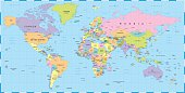 Highly detailed colored vector illustration of world map.  Image contains next layers: - land contours - country and land names - city names - water object names   Source map references:  hhttp://ww
