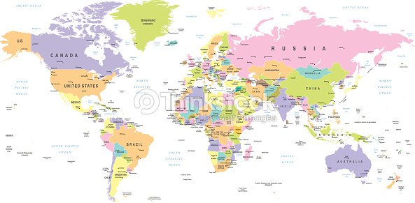 Colored world map borders countries and cities illustration vector colored world map borders countries and cities illustration vector art gumiabroncs Choice Image