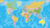 Highly detailed colored vector illustration of world map.