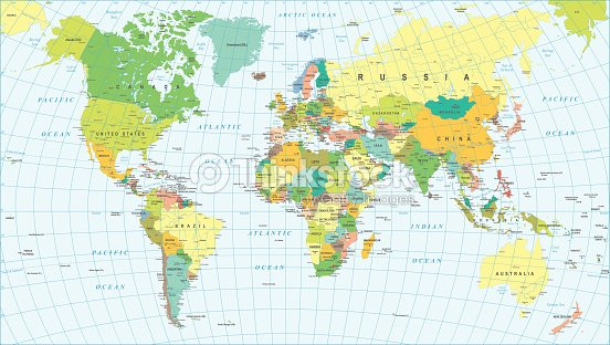 Colored World Map Borders Countries And Cities Illustration ...