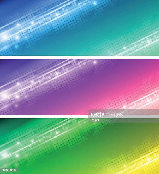 Colorful abstract banner in blue, green and purple