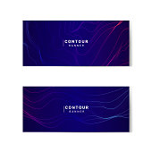 Blue and pink abstract map contour lines banners set