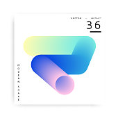 Abstract vector modern shape. Bold colorful design element with gradient blend, liquid bubble