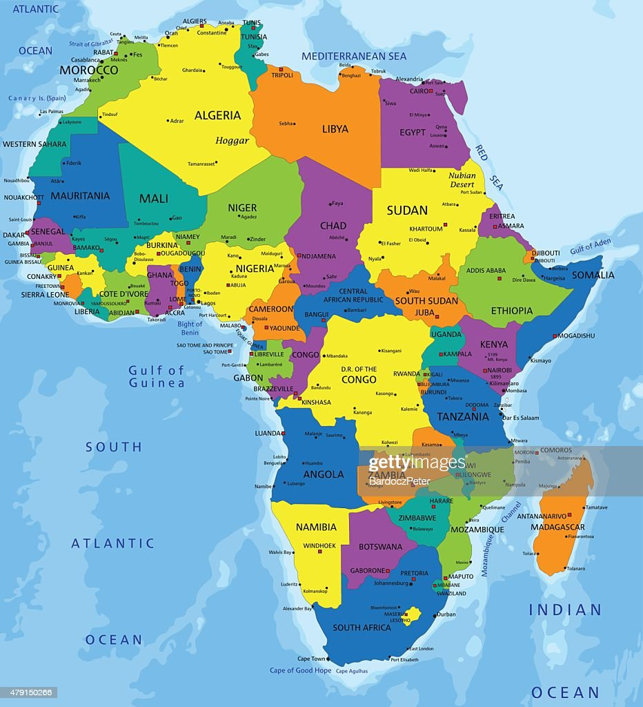 Colorful Africa Political Map Vector Art Thinkstock