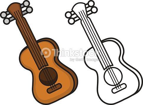Colorido Y La Guitarra En Negro Y Blanco Para Colorear Libro Arte ...