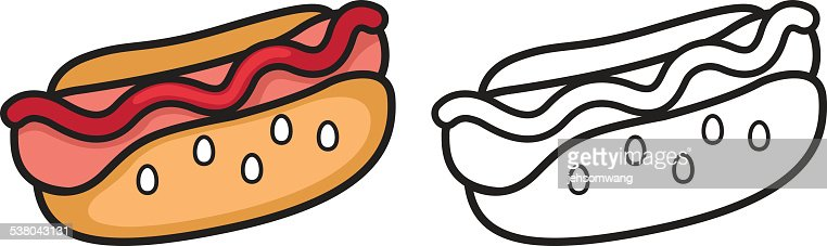 Hot dog vector black and white