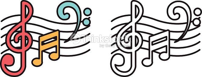 Colorido Y Blanco Y Negro Para Colorear Libro De Notas De Música ...