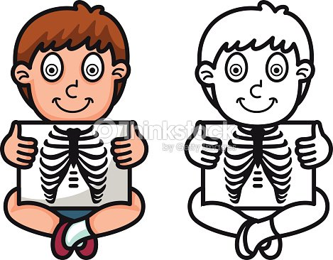 Colorful And Black White X Ray For Coloring Book Vector Art