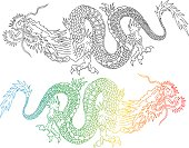Vector illustration of a chinese dragons. Colorful and black chinese dragons.