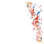 Colorful background with music notes