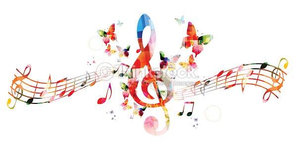 Fond de musique color e avec des notes clipart vectoriel for Musique barre danse classique gratuite