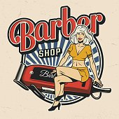 Colorful barbershop logotype with pinup beautiful woman sitting on electric hair clipper in vintage style isolated vector illustration