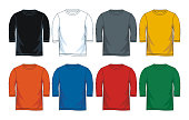 Colorful blank three quarter length shirt collection icon set. front look vector image